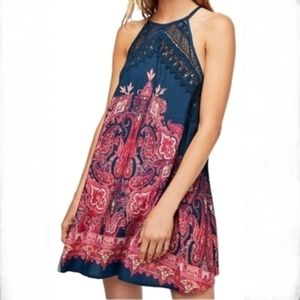 Free People shea printed slip crochet dress!